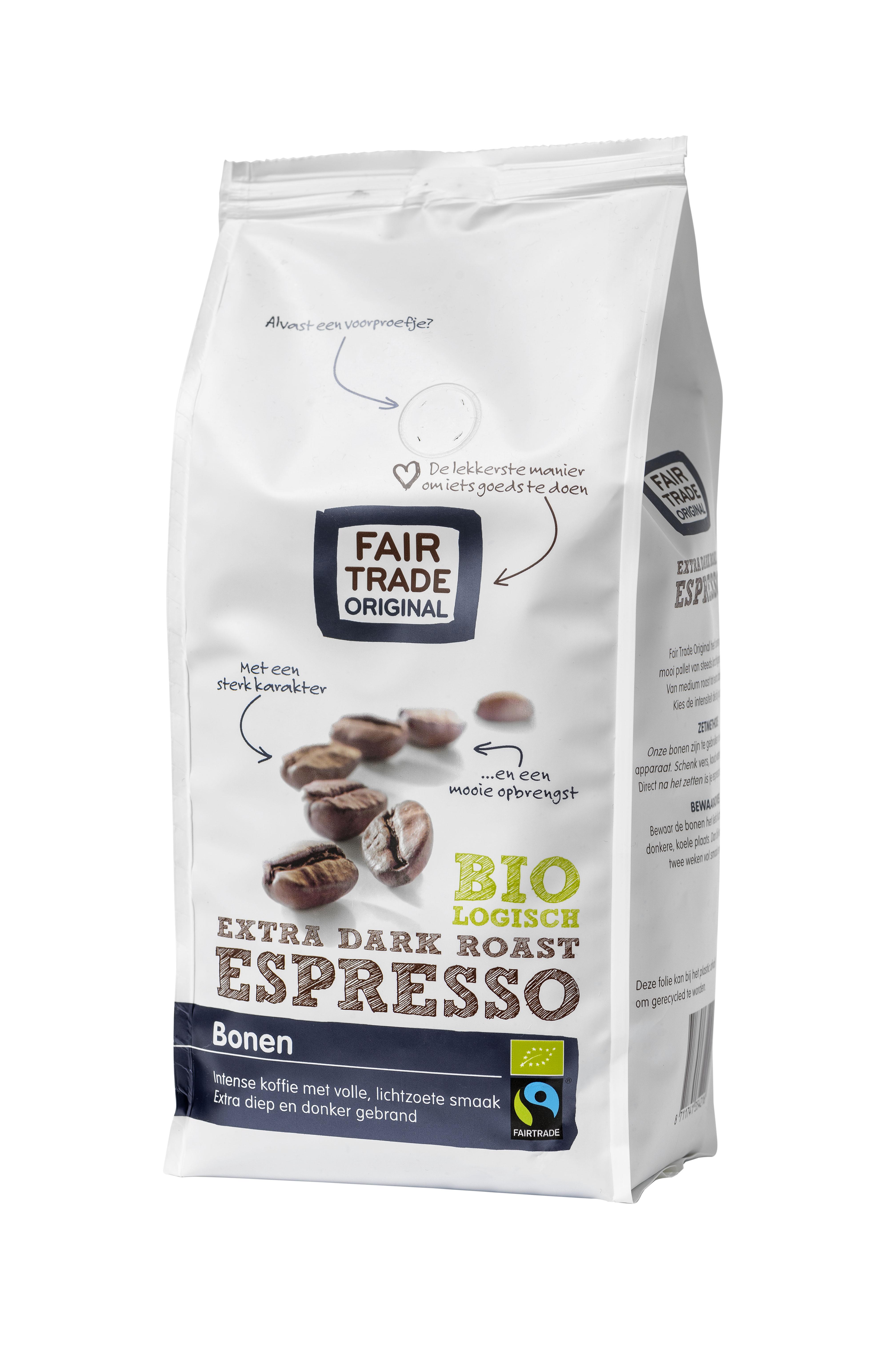 Espresso-bonen-EXTRA-DARK-ROAST-BIO-500g-Fair Trade Original-schuin