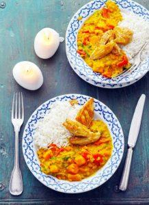 Gele curry met rode linzen